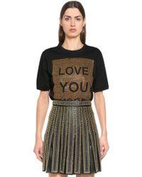 Elie Saab - Love You More Embellished Jersey T-shirt - Lyst
