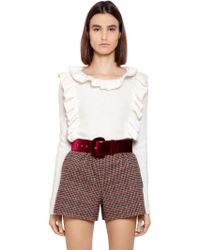 Blugirl Blumarine - Ruffle Wool Knit Sweater - Lyst