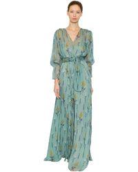 Luisa Beccaria Vestido De Chifón De Seda Estampado Floral - Azul