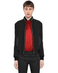 Saint Laurent - Silk Velvet Teddy Jacket W/ Stud Trim - Lyst