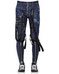 DSquared² 15cm Military Cotton Denim Jeans - Blue