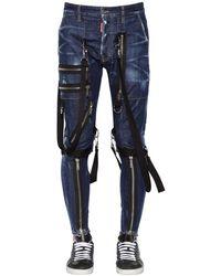 DSquared² Jean Coupe Military En Denim De Coton 15Cm - Bleu