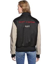 Saint Laurent - Oversize Embroidered Satin Bomber Jacket - Lyst