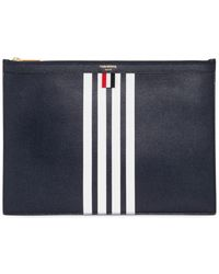 Thom Browne | Medium Zipped Leather Pouch W/ Stripes | Lyst
