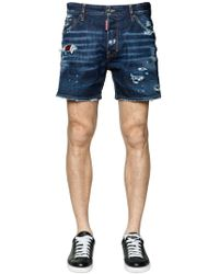 DSquared² - Destroyed Cotton Denim Shorts W/ Patches - Lyst