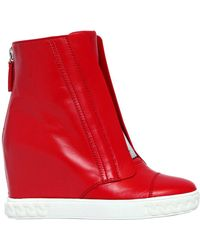 Casadei - 80mm Leather Wedge Sneakers - Lyst