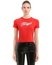 Fiorucci Soda Logo Crop Jersey T-shirt - Red
