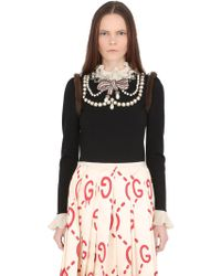 Gucci - Embellished Wool Sweater W/mink Details - Lyst