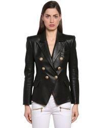 Balmain - Double-breasted Leather Jacket - Lyst