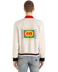 Gucci - Logo Printed Perforated Leather Jacket - Lyst