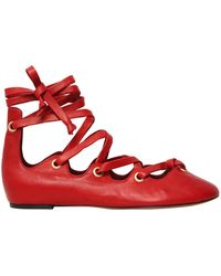 Isabel Marant - 10mm Leomia Lace Up Leather Flats - Lyst