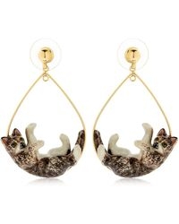 Nach - Grey Playing Cat Earrings - Lyst