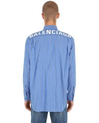 d414ed5df316 Lyst - Balenciaga Logo Printed Check Cotton Poplin Shirt in Blue for Men
