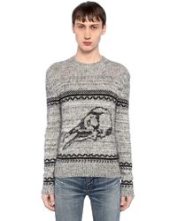 Saint Laurent - Skull Wool Blend Jacquard Jumper - Lyst