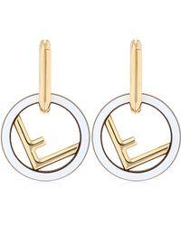 Fendi - F Logo Metal Earrings - Lyst