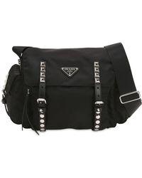 Prada - Nylon Shoulder Bag W  Studded Straps - Lyst 83b25b047a9f9