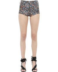 Isabel Marant - Floral Printed Nappa Leather Shorts - Lyst