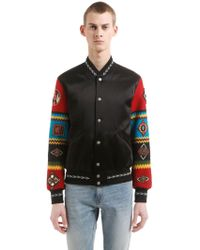 Saint Laurent - Teddy Jacket W/ Embroidered Sleeves - Lyst