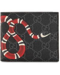 Gucci - Snake Printed Gg Supreme Canvas Wallet - Lyst