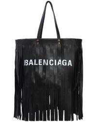 Balenciaga - Medium Laundry Leather Bag W/ Fringe - Lyst