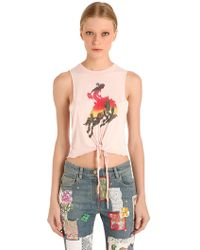 Tommy Hilfiger - Front Tie Viscose Jersey Tank Top - Lyst
