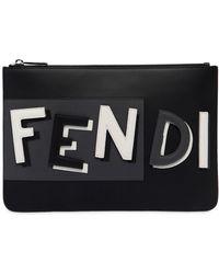 Fendi - Vocabulary 3d Logo Leather Pouch - Lyst