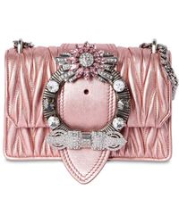 Miu Miu - Med Miu Lady Quilt Metallic Leather Bag - Lyst