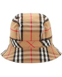 Burberry - Vintage Check Print Cotton Bucket Hat - Lyst