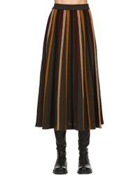 Antonio Marras - Striped Fluid Wool Rib Knit Midi Skirt - Lyst