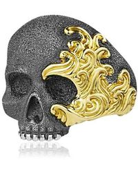 David Yurman - Waves Skull Gold & Silver Ring - Lyst