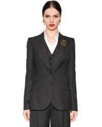 Dolce & Gabbana - Pinstripe Cool Wool Jacket - Lyst
