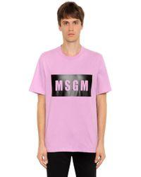 MSGM - Vinyl Logo Printed Cotton Jersey T-shirt - Lyst