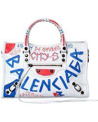 Balenciaga - Small City Graffiti Leather Bag - Lyst