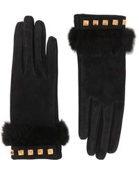 Mario Portolano - Suede Gloves With Mink Fur & Studs - Lyst