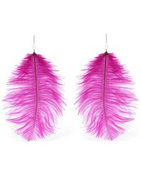 Tuleste - Ostrich Feather Statement Earrings - Lyst