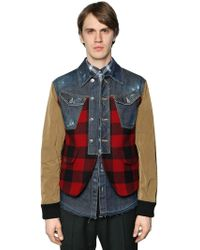 DSquared² - Patchwork Plaid, Denim & Leather Jacket - Lyst