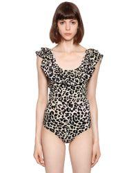 Love Stories - Ruby Ruffled Leopard Lycra Swimsuit - Lyst