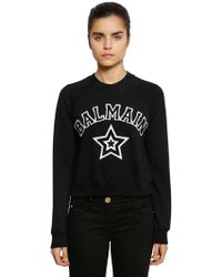 Balmain - Logo Patches Cropped Jersey Sweatshirt - Lyst