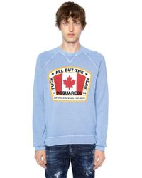DSquared² - Printed Flag Cotton Jersey Sweatshirt - Lyst