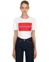 Calvin Klein - Logo Printed Cotton Jersey T-shirt - Lyst