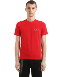 EA7 - Training Logo Detail Cotton T-shirt - Lyst