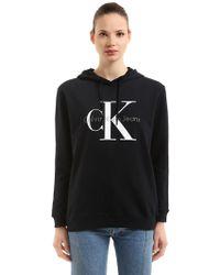 Calvin Klein Jeans - Hooded Logo Printed Cotton Sweatshirt - Lyst