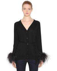 Prada - Wool Cardigan With Feather Cuffs - Lyst