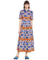 Stella Jean - Kleid Aus Plissierter Baumwolle - Lyst
