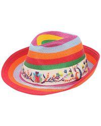 Etro - Straw Effect Hat W/ Embroidered Hatband - Lyst
