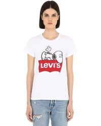 """Levi's - T-shirt """"snoopy"""" In Cotone - Lyst"""