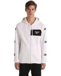Reebok - Hooded Zip-up Cotton Blend Sweatshirt - Lyst
