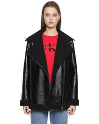 Calvin Klein Jeans   Ortensia Shiny Faux Shearling Coat   Lyst