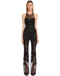 Zuhair Murad - Floral Beaded Tulle & Lace Jumpsuit - Lyst