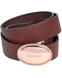 DSquared² - 35mm Leather Belt W/ Logo Buckle - Lyst